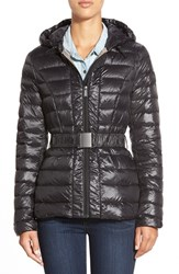 Women's Dkny Packable Belted Hooded Down Jacket Black
