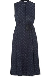 Equipment Clevete Polka Dot Crepe Midi Dress Navy