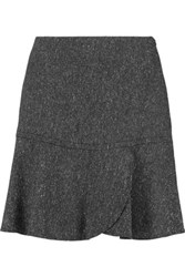 See By Chloe Pleated Wrap Effect Wool Blend Slub Mini Skirt Dark Gray