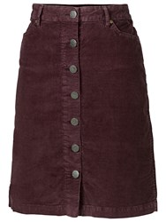 Fat Face Cord Button Through Skirt Purple