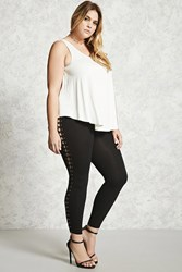 Forever 21 Plus Size Lace Up Side Leggings Black