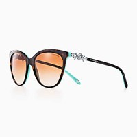 Tiffany And Co. Victoria Butterfly Sunglasses In Tortoise Blue Acetate. Plastic