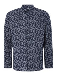 Peter Werth Men's Tradition Paisley Print Stretch Cotton Navy