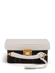 Mark Cross Grace Small Leather And Wicker Box Bag Black White