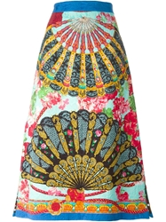 Dolce And Gabbana Long Floral Fans Printed Skirt Multicolour