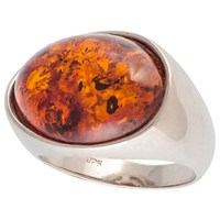 Be Jewelled Oval Amber Cocktail Ring Cognac