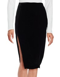 Kendall Kylie Velvet Pencil Skirt Black