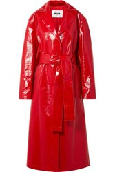 Msgm Faux Glossed Leather Trench Coat Crimson