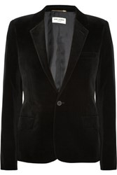 Saint Laurent Cotton Blend Velvet Blazer Black