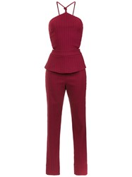Lilly Sarti Gabardine Stripes Jumpsuit Red