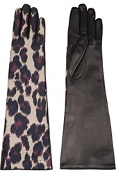 Lanvin Leopard Print Twill And Leather Gloves Leopard Print