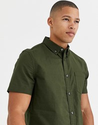 Burton Menswear Oxford Shirt In Khaki Green