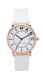 Marc Jacobs Roxy Leather Watch Rose Gold White Satin White