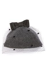 Women's Helene Berman Wool Blend Cap With Veil Grey Anthracite Black