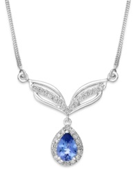 Macy's Tanzanite 3 4 Ct. T.W. And Diamond 1 3 Ct. T.W. Frontal Necklace In 14K White Gold