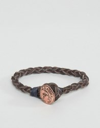 Classics 77 Leather Bracelet With Antique Copper Button Brown