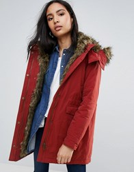 Pepe Jeans Polly Faux Fur Lined Parka Coat Lt Burgundy Red