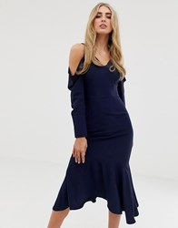 Lavish Alice Draped Cold Shoulder Floaty Midi Dress Navy