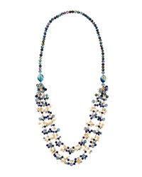 Emily And Ashley Long Double Strand Blue Beaded Necklace