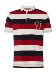 Howick Staxton Striped Short Sleeve Rugby Red