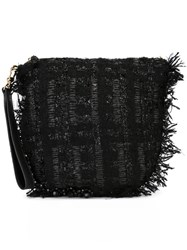 Simone Rocha Frayed Woven Clutch Black