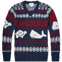 Thom Browne Turtle And Whale Fair Isle Sweater Navy