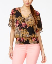 Thalia Sodi Printed Embellished Cold Shoulder Top Only At Macy's