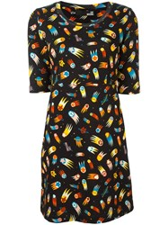 Love Moschino Falling Stars Print Dress Black