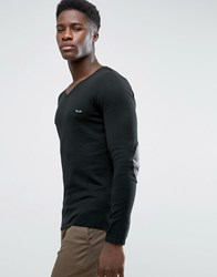 Selected Fitted V Neck Soft Feel Knitwear Black