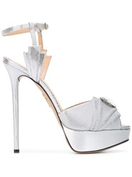 Charlotte Olympia Open Toe Platform Sandals Metallic