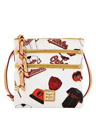 Dooney And Bourke Baltimore Orioles Coated Cotton Triple Zip Crossbody Bag White