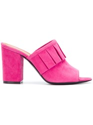 Via Roma 15 Pleated Detail Heeled Mules Pink And Purple