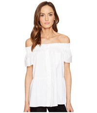 Red Valentino Cotton Stretch Poplin Top White Women's Clothing