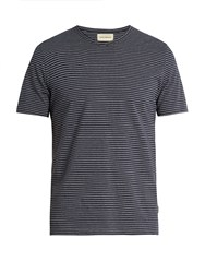 Oliver Spencer Conduit Pinstriped Cotton Jersey T Shirt Navy Multi