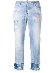 Dsquared2 Cool Girl Embroidered Cropped Jeans Blue