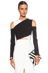 Yigal Azrouel Cross Front Viscose Blend Cropped Top In Black