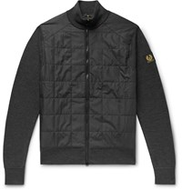 Belstaff New Kelby Slim Fit Panelled Wool And Quilted Shell Zip Up Cardigan Gray