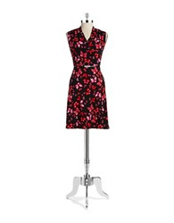 Jones New York Butterfly Floral Wrap Dress Azalea Multi