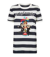 Dolce And Gabbana Family Applique Striped T Shirt Female Black