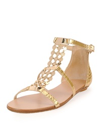 Jimmy Choo Wyatt Metallic Chain Trim Flat Sandal Gold