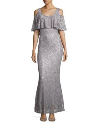 Marina Floral Lace Cold Shoulder Gown Gray