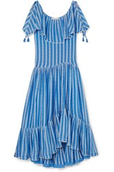 Tory Burch Crochet Trimmed Ruffled Broderie Anglaise Cotton And Silk Blend Voile Maxi Dress Blue