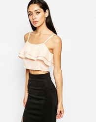 Club L Frill Front Crop Top Nude