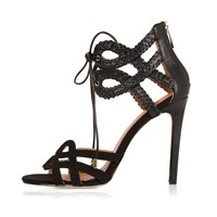 River Island Womens Black Whipstitch Lace Up Strappy Sandals