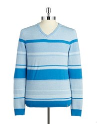 Calvin Klein Striped V Neck Top Blue