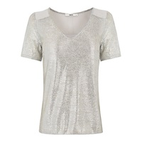 Oasis Darcy V Neck T Shirt Silver