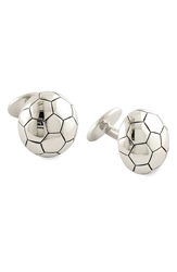 David Donahue 'Soccer' Sterling Silver Cuff Links Silver Soccer Ball
