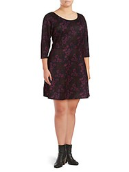 Alexia Admor Floral Fit And Flare Dress Burgundy