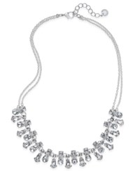 Charter Club Silver Tone Crystal Double Strand Necklace Only At Macy's