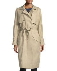 Joie Alwena Button Front Trench Coat Khaki